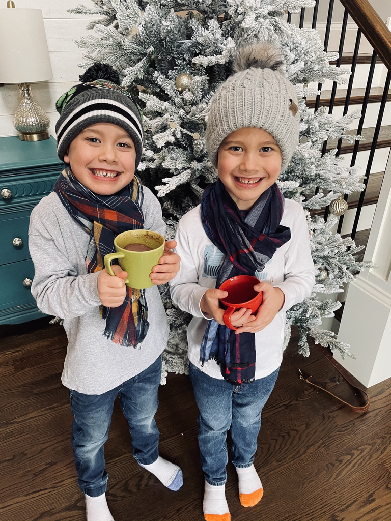 Winter Wonderland with hot cocoa and favorite hats and scarfs!