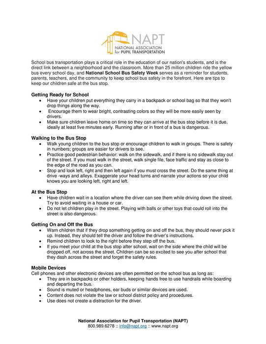 National Association for Pupil Transportation Bus Safety Tips