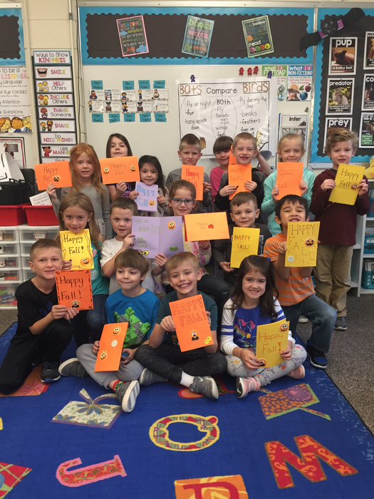A happy class of 1st graders! Thank you Prairie Ridge student council for the great Fall cards!