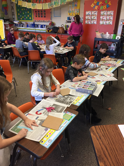"Artist of the Month—we created a ""type"" collage in the style of Jasper Johns!"