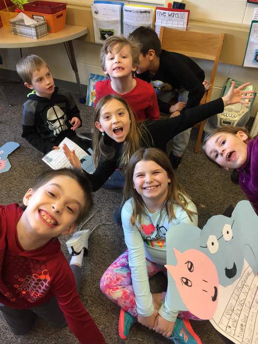 Furst Grade sharing their favorite piggie and elephant books with Second Grade!