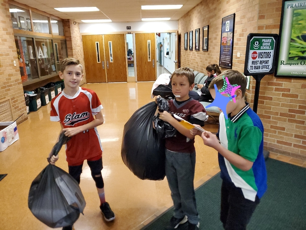 5th Graders helping the school and environment by collecting the recycling!