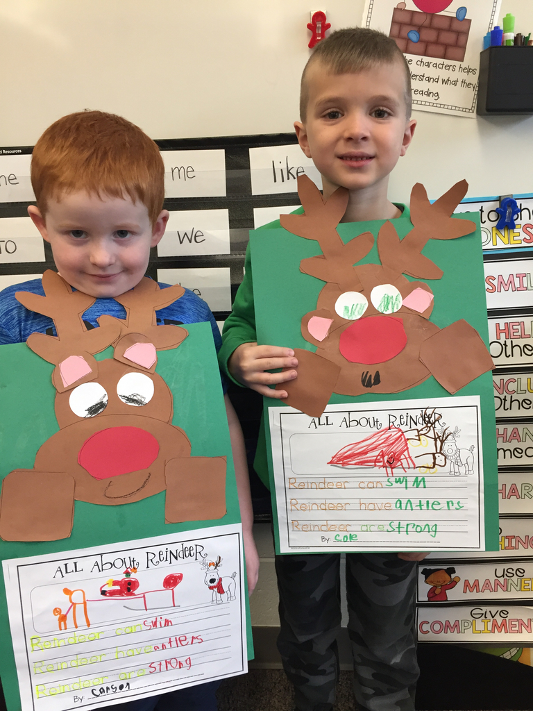 Carson and Cole with their reindeer facts!