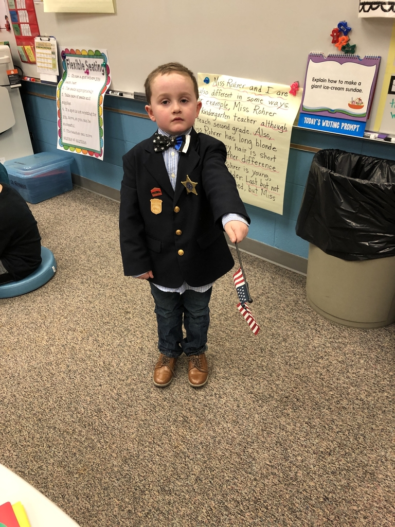 Law Enforcement Appreciation Day - Caleb proudly and solemnly (and adorably) led us in the Pledge of Allegiance.💙🖤💙
