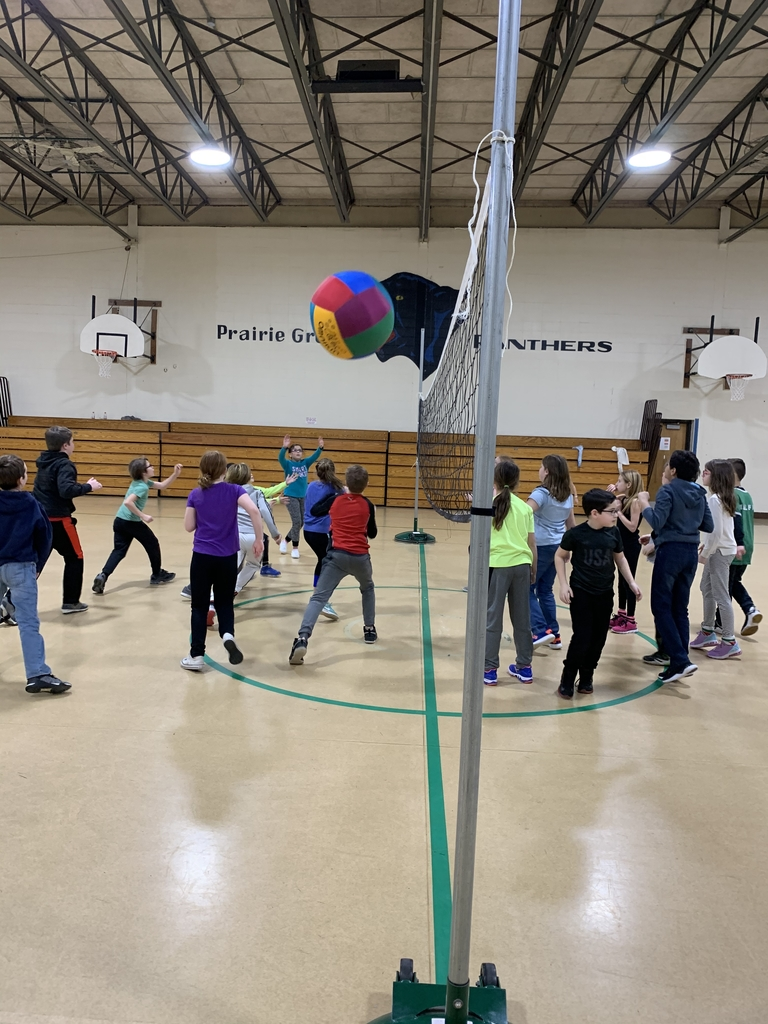 4th grade playing big ball volleyball!