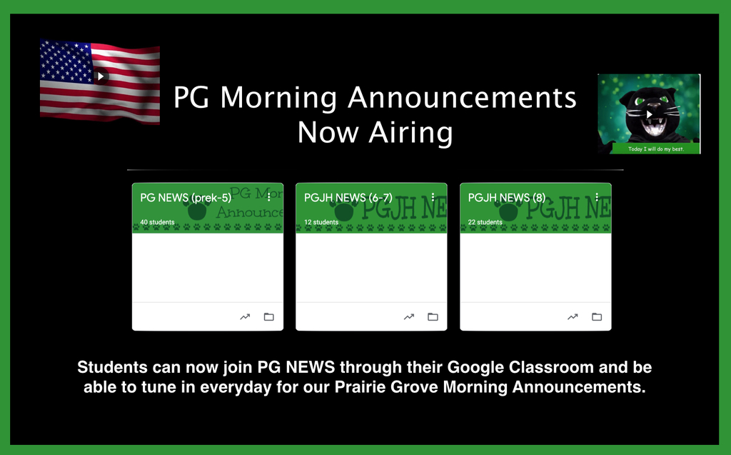 PG Morning Announcements available to all students from home