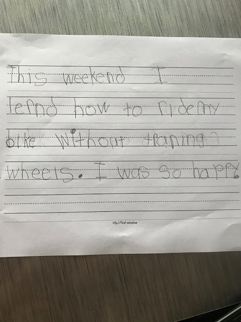 Kindergarten weekend writing!